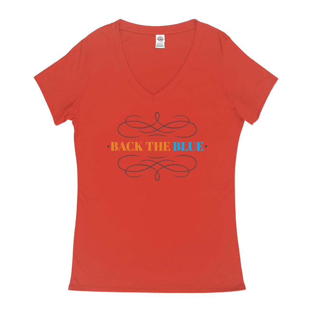 "V-Neck T-Shirts - GN - ""Back the Blue"" - 03, blue lives matter, patriotic, inspirational, Police"