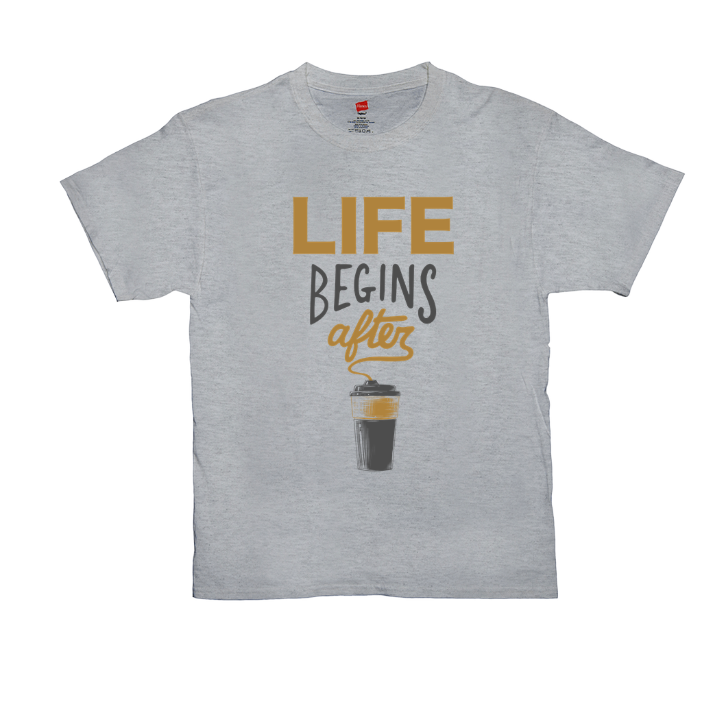 "Unisex T-Shirts - GN - ""Life begins after coffee"" - coffee, coffee lovers, funny t-shirts, funny sayings, funny quotes"