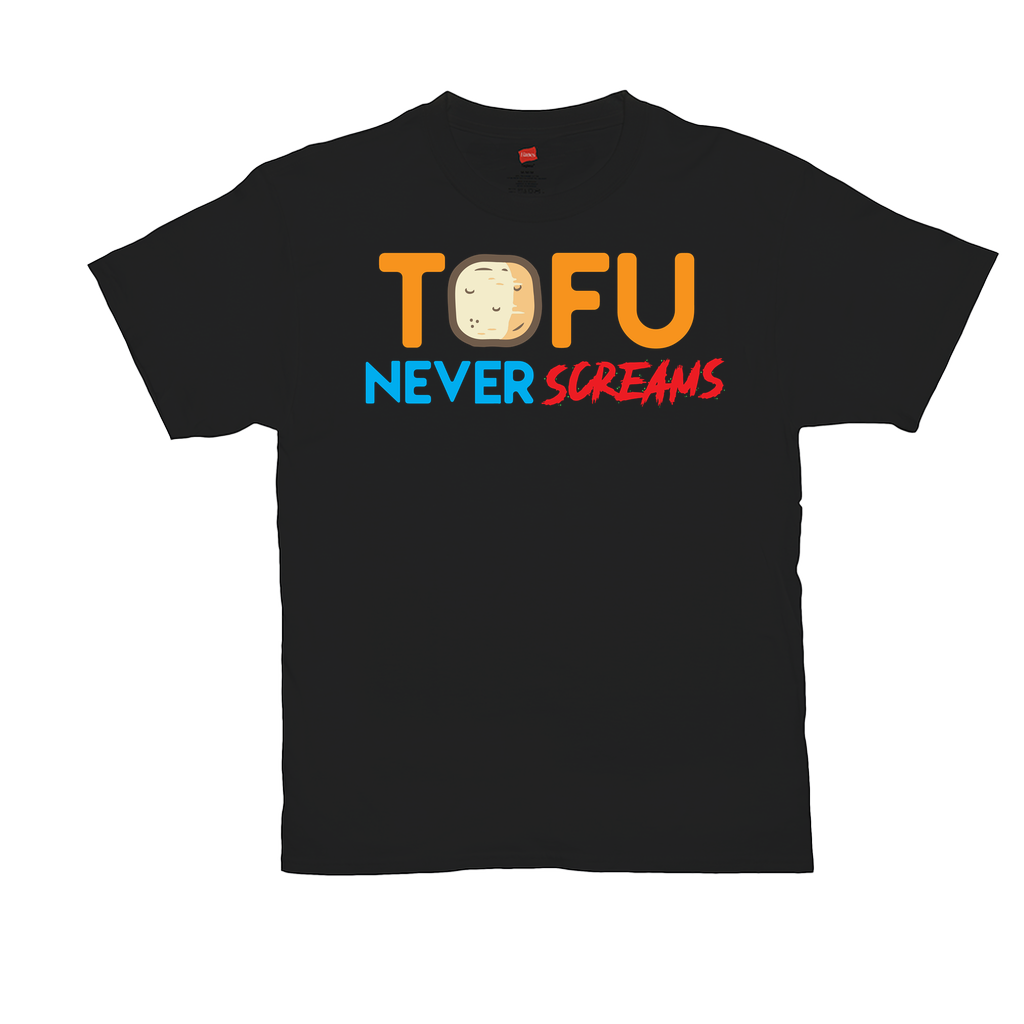 "Unisex T-Shirts - GN - ""Tofu Never Screams"" - vegetarian, vegetarianism, funny sayings, funny quotes, funny gifts"