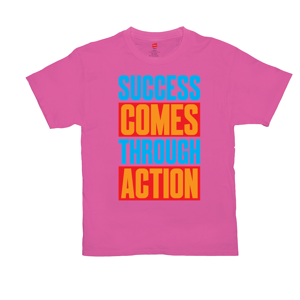 Success Comes Through Action - Unisex T-Shirts - GN - motivational, self-help, success