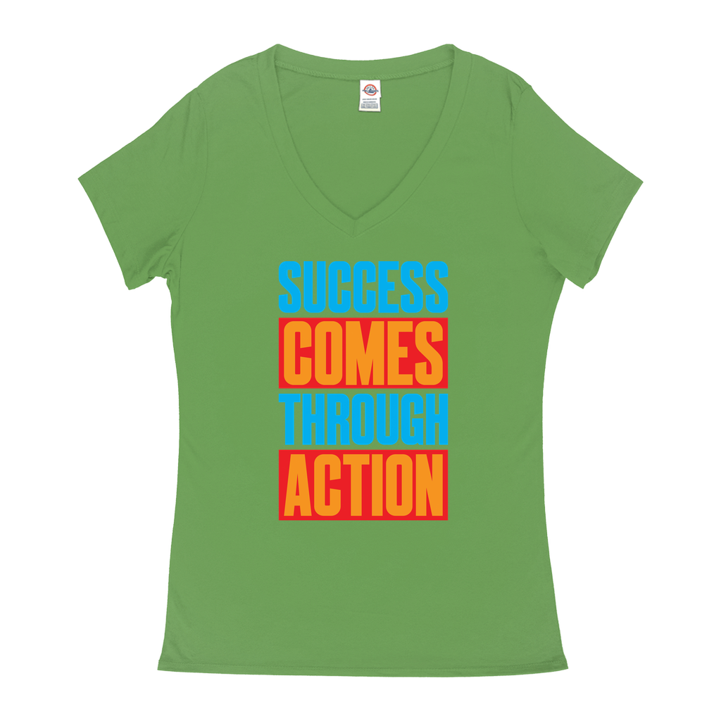 Success Comes Through Action - V-Neck T-Shirts - GN - motivational, self-help, success