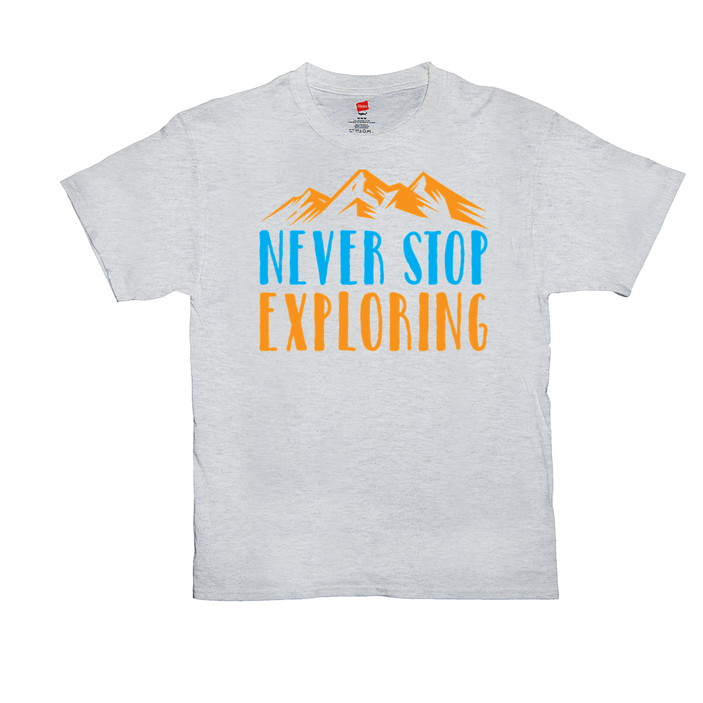 Never Stop Exploring - Unisex T-Shirts - GN - exploring, camping, hiking, outdoors, nature, discovery