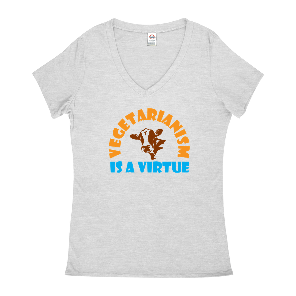 Vegetarianism is a virtue - V-Neck T-Shirts - GN - vegetarian, vegetarianism, funny sayings, funny quotes, funny gifts