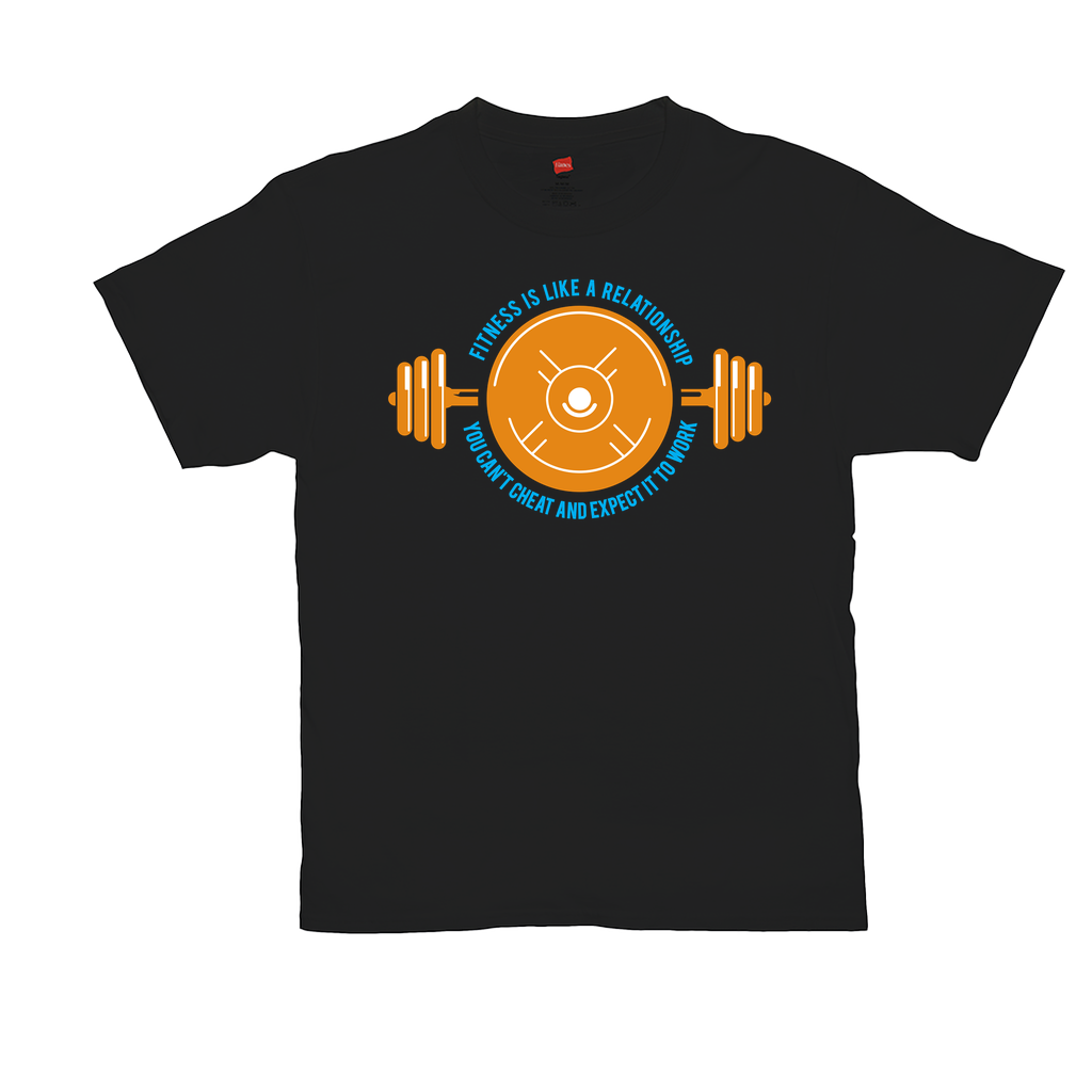 "Unisex T-Shirts - GN - ""Fitness is like a relationship, you can't cheat and expect it to work"" - funny sayings, funny quotes, funny t-shirts, fitness, cross fit, exercise"