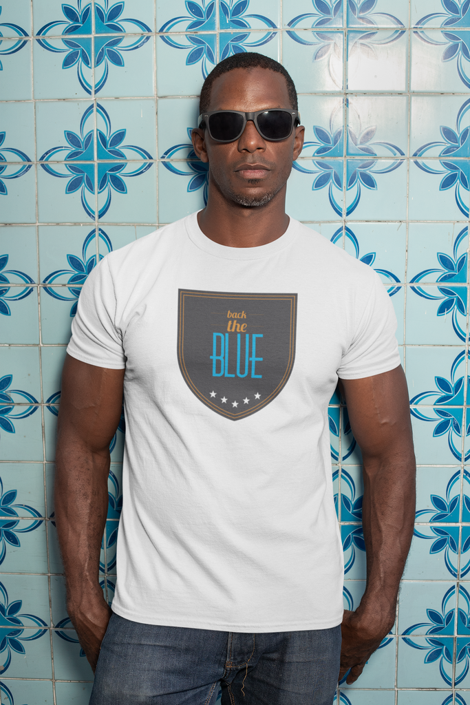 Back the Blue - Unisex T-Shirts - GN - patriotic, inspirational, vote, Shield, Police
