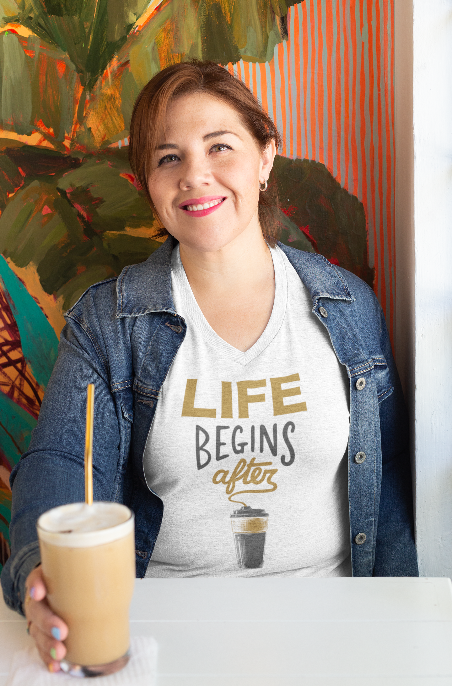 Life begins after coffee - V-Neck T-Shirts - GN - coffee, coffee lovers, funny t-shirts, funny sayings, funny quotes