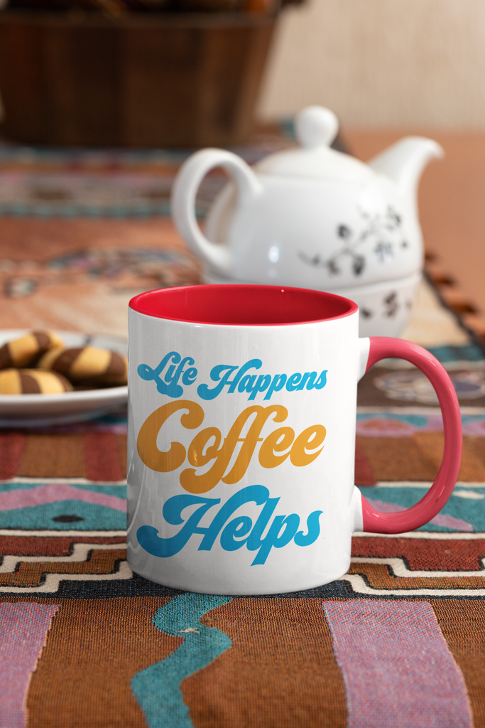 Life happens coffee helps - 11 oz. Mug - GN - coffee, coffee lovers, funny mugs, funny sayings, funny quotes