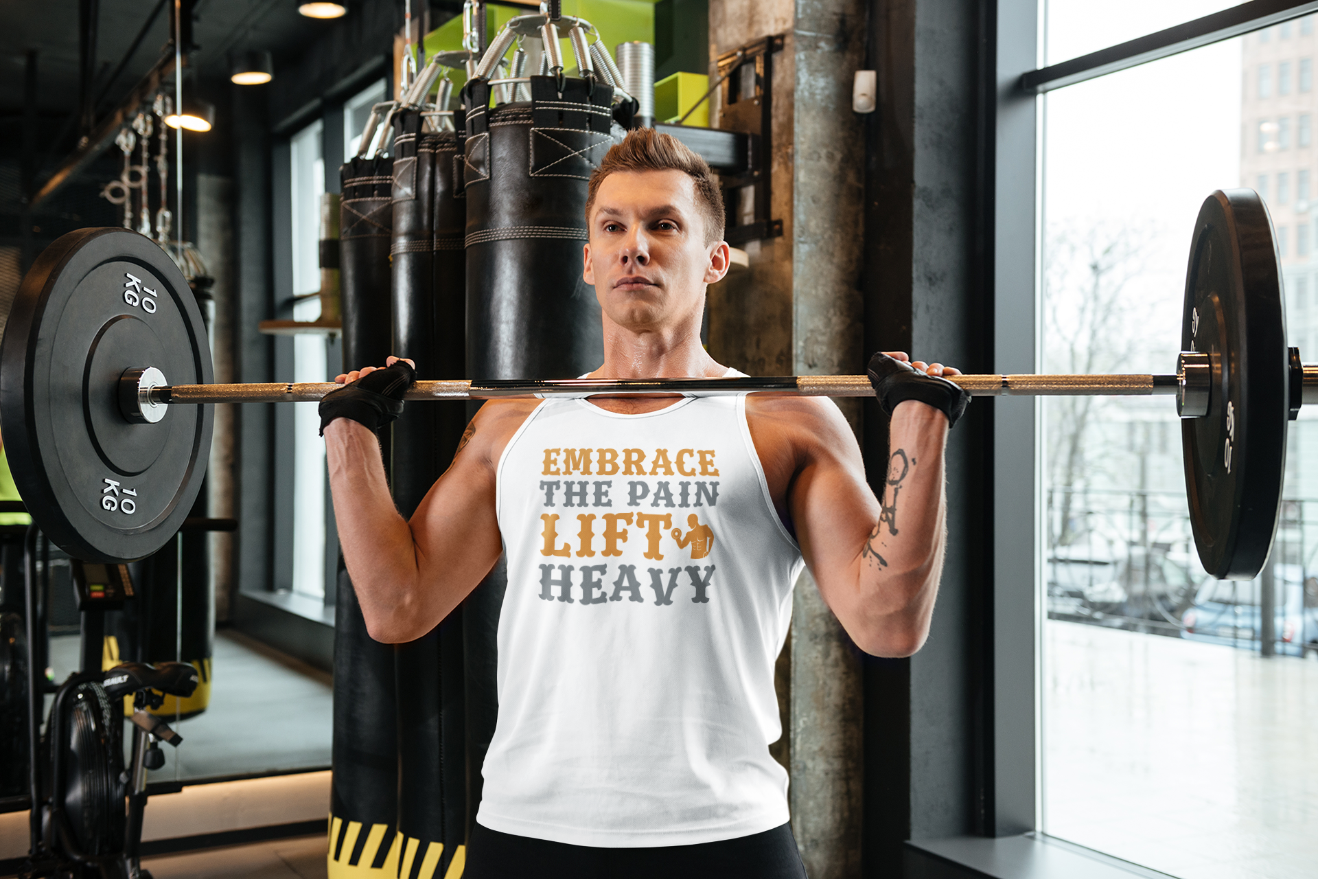 Embrace the pain lift heavy - Tank Tops - GN - fitness, cross fit, weightlifting, funny quotes, funny sayings, funny t-shirts