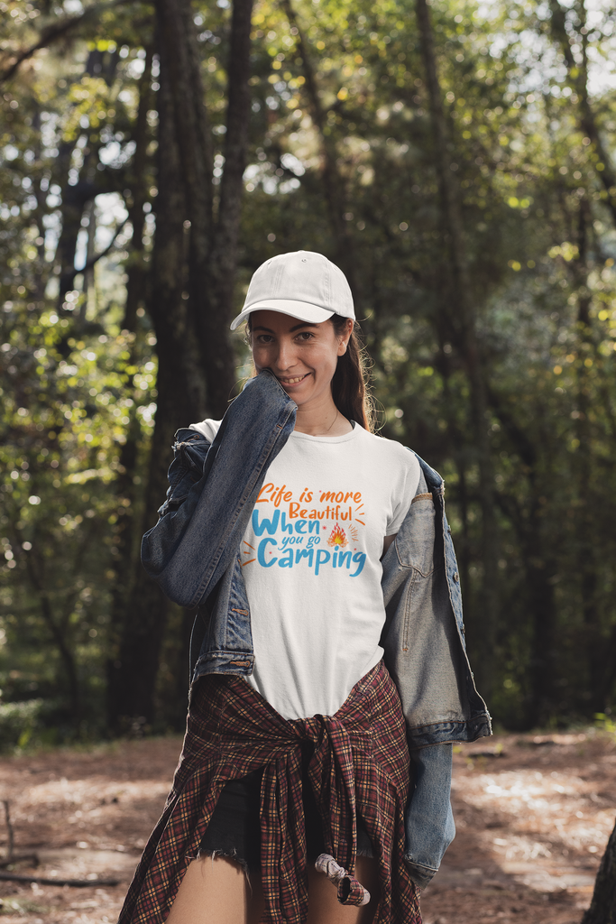 "Unisex T-Shirts - GN - ""Life is more beautiful when you go camping"" - camping, hiking, outdoors, nature"