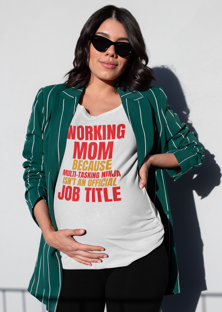 Working Mom, because multi-tasking ninja isn't an official job title - Unisex T-Shirts - GN - funny t-shirts, funny sayings, funny gifts