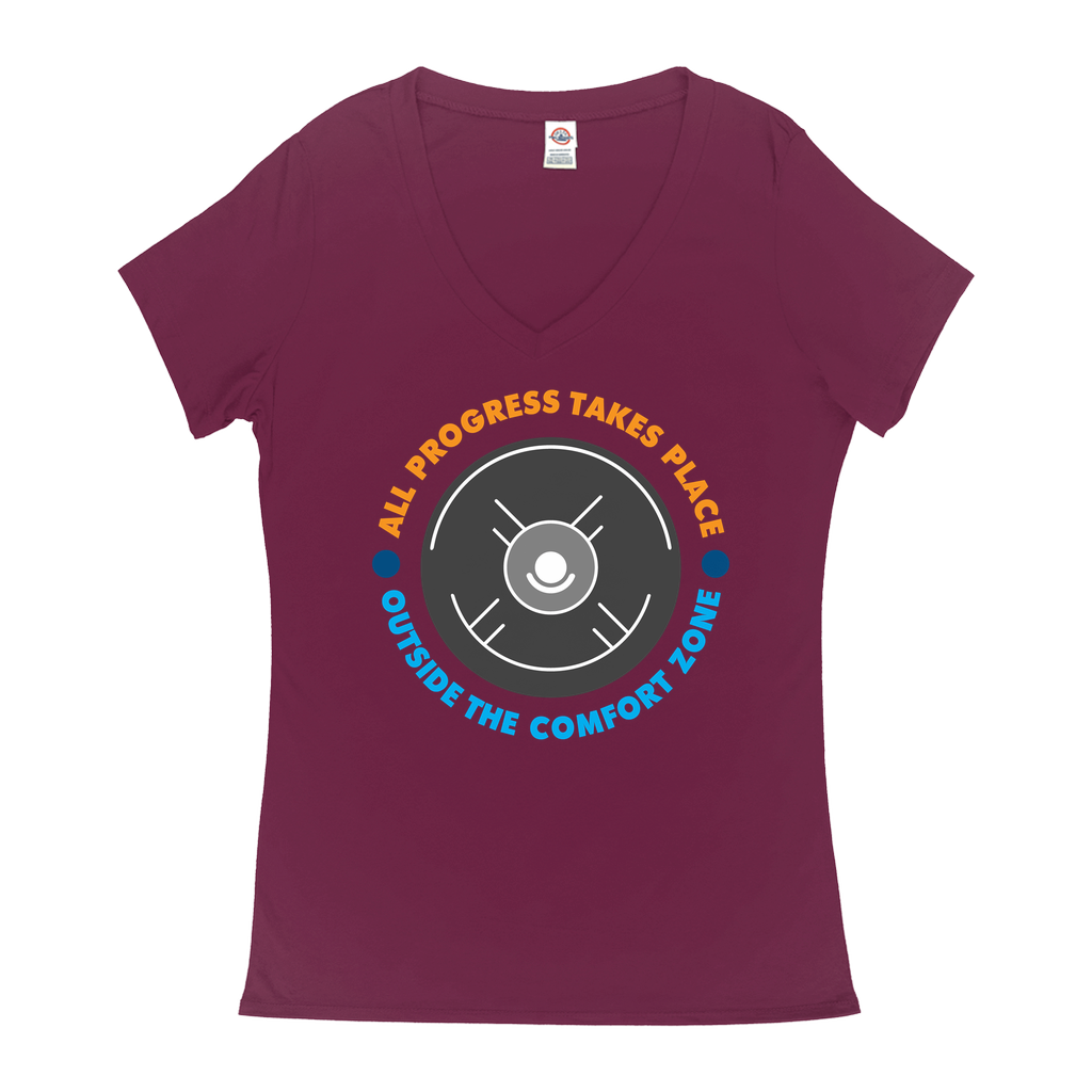 All progress takes place outside the comfort zone - V-Neck T-Shirts - GN - motivational, self-help, success