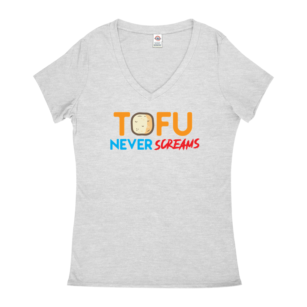 Tofu Never Screams - V-Neck T-Shirts - GN - vegetarian, vegetarianism, funny sayings, funny quotes, funny gifts