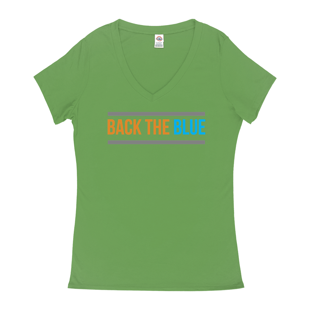 "V-Neck T-Shirts - GN - ""Back the Blue"" - blue lives matter, patriotic, inspirational, Police"
