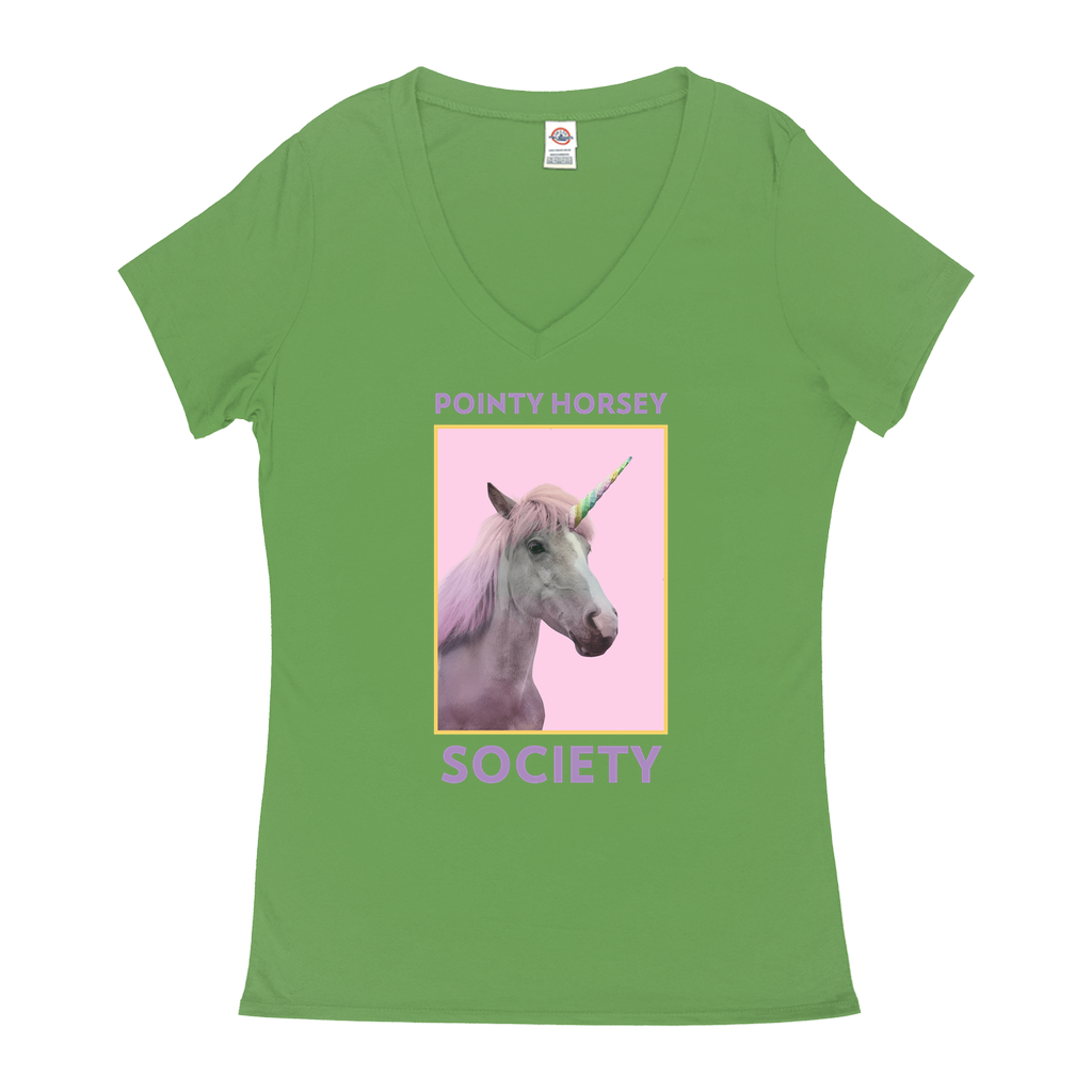 Pointy Horsey Society - V-Neck T-Shirts - GN - funny t-shirts, funny sayings, funny quotes, silly gifts, unicorns