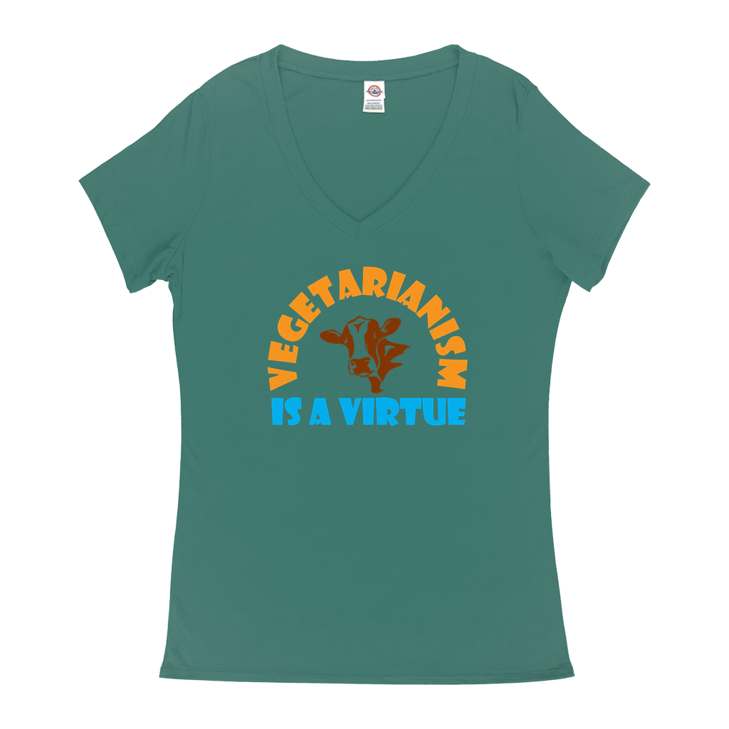 "V-Neck T-Shirts - GN - ""Vegetarianism is a virtue"" - vegetarian, vegetarianism, funny sayings, funny quotes, funny gifts"