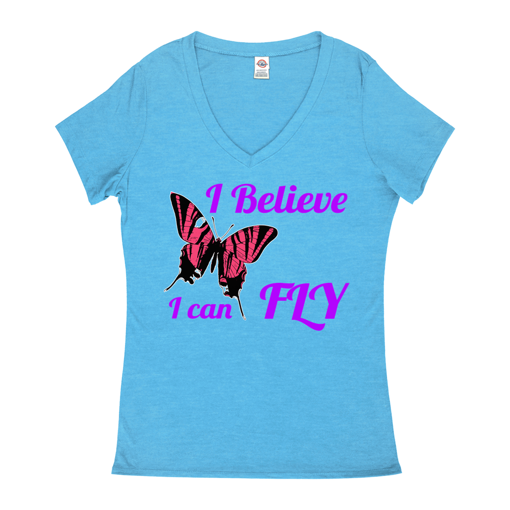 I believe I can Fly - V-Neck T-Shirts - Animals, Butterflies, Nature, Positivity, Motivation, Inspiration