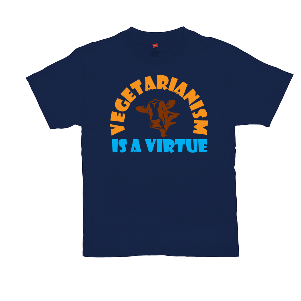 "Unisex T-Shirts - GN - ""Vegetarianism is a virtue"" - vegetarian, vegetarianism, funny sayings, funny quotes, funny gifts"