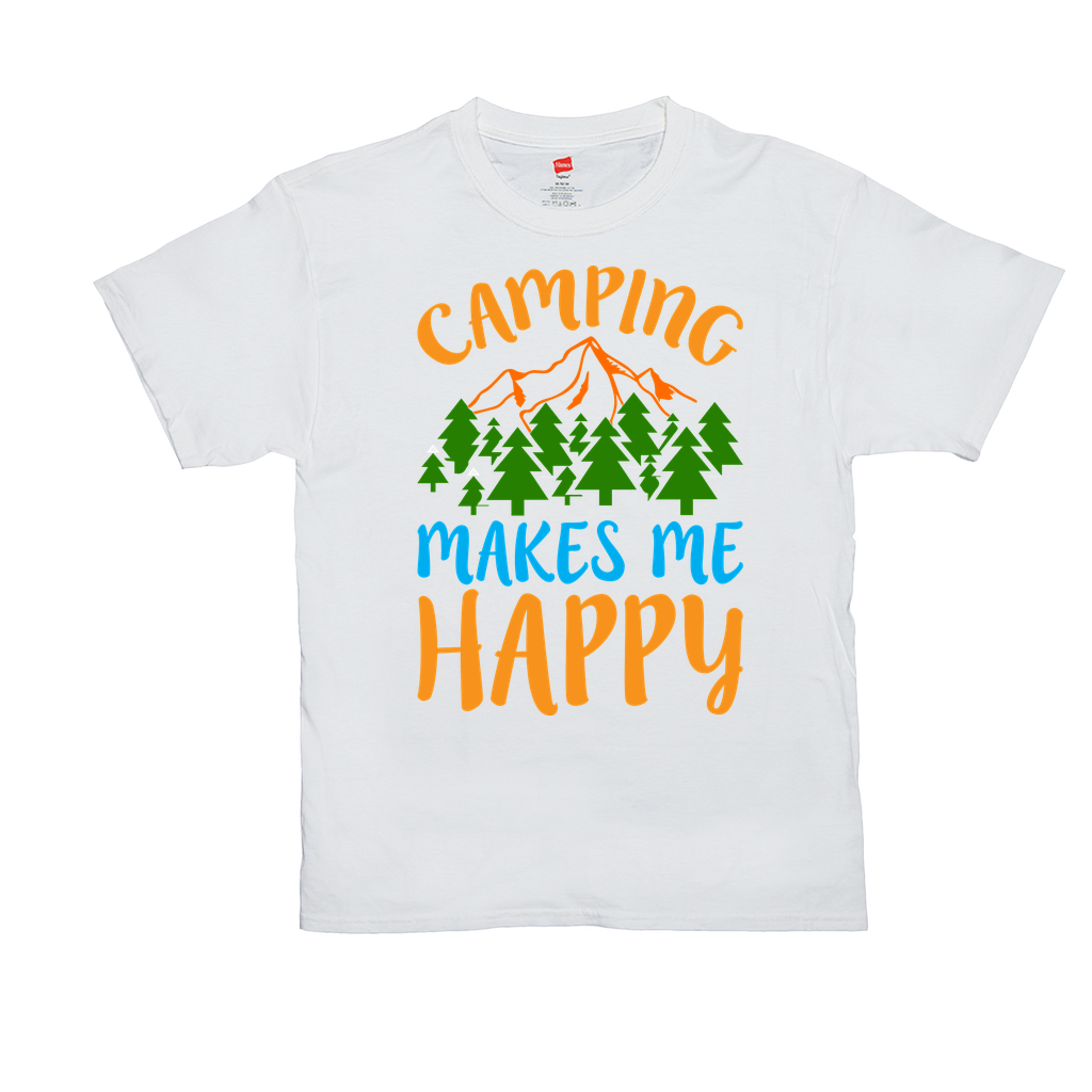 "Unisex T-Shirts - GN - ""Camping makes me happy"" - camping, hiking, nature, outdoors"