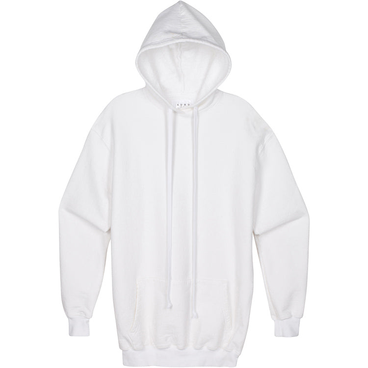 ADBD Standard L/S Loop Terry Hooded Pullover (White)