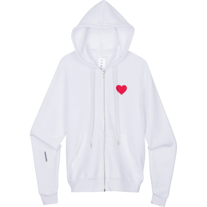 """I love you."" Zip-Up Hoodie (White)"
