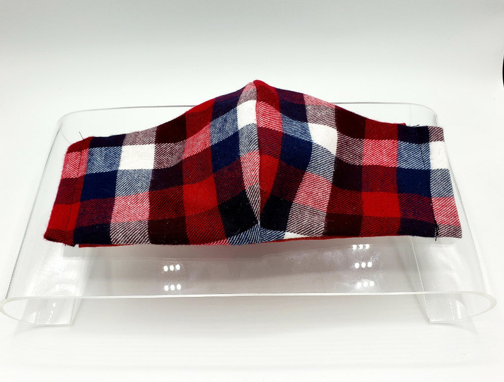 Red, White, and Plaid Face Mask