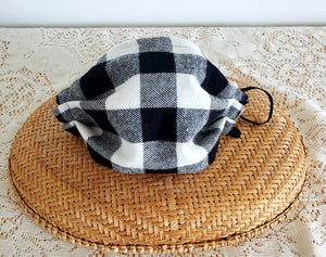 Grey Plaid Face Mask