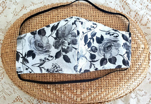 B&W Floral - White Face Mask