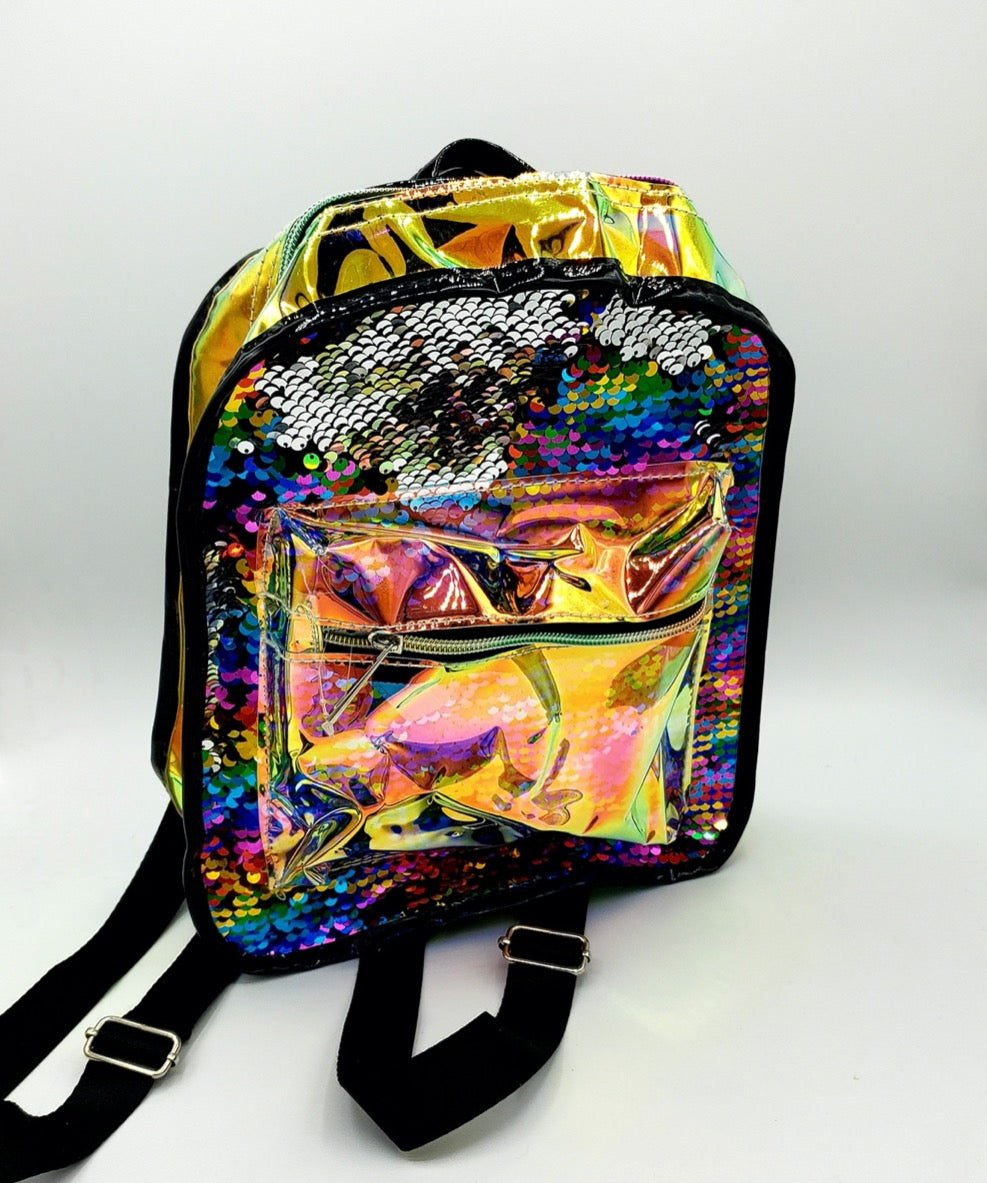 Iridescent sequin rainbow mini backpack