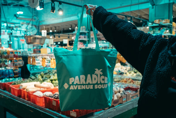 Paradice Zipper Tote Bag (Teal)