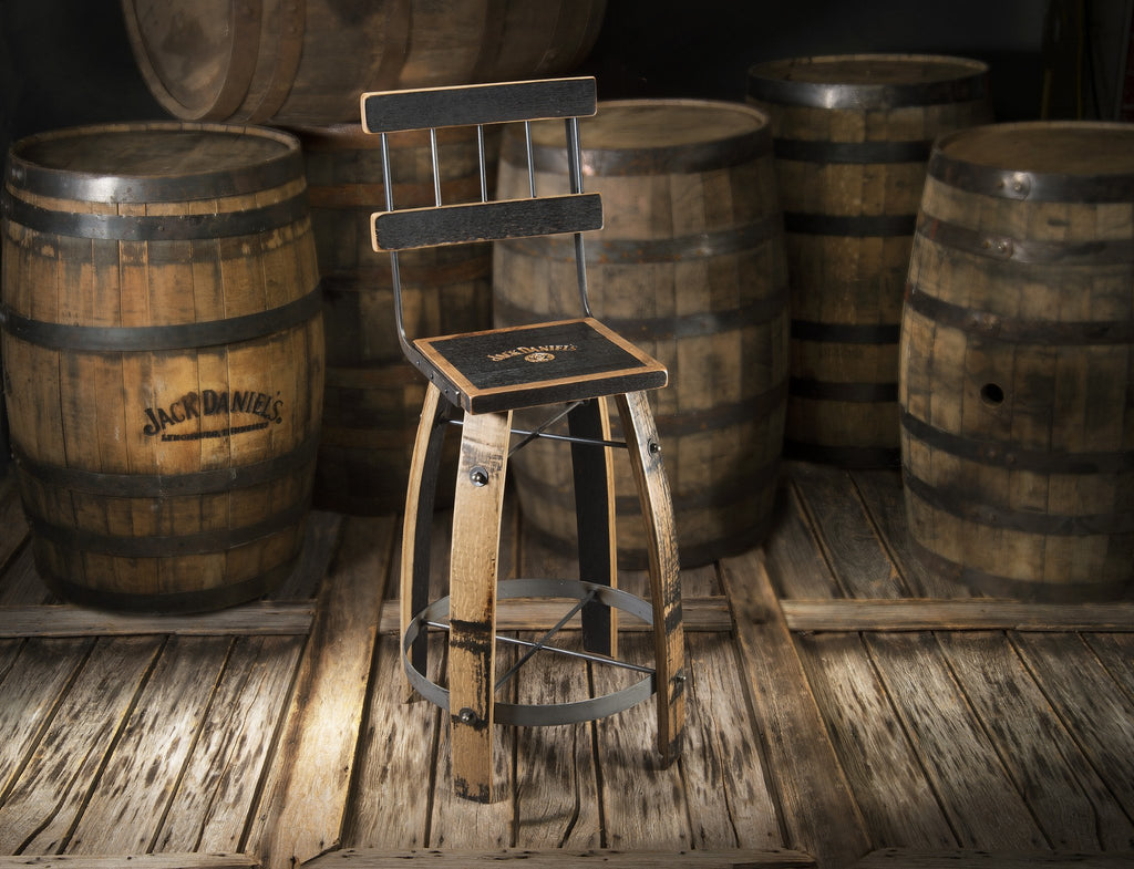 Whiskey Wood Bar Stool High Back Heritage Handcrafted