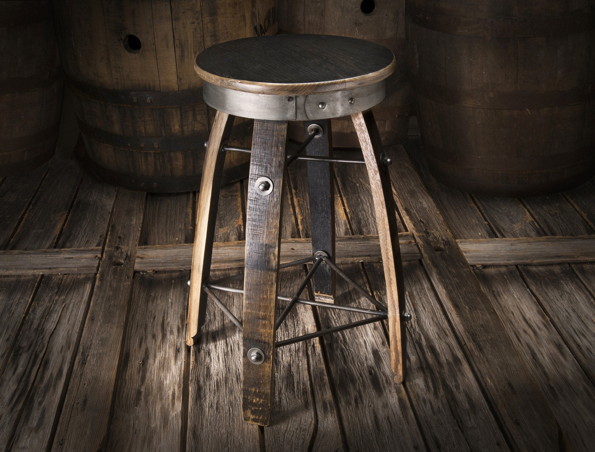 Whiskey Wood Bar Stool Swivel Seat Heritage Handcrafted
