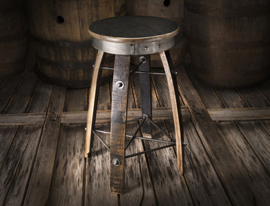 Whiskey Wood Bar Stool - Swivel Seat