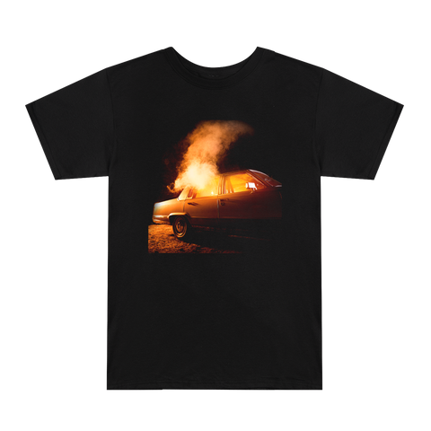 Car Smoke Black Tee White Back