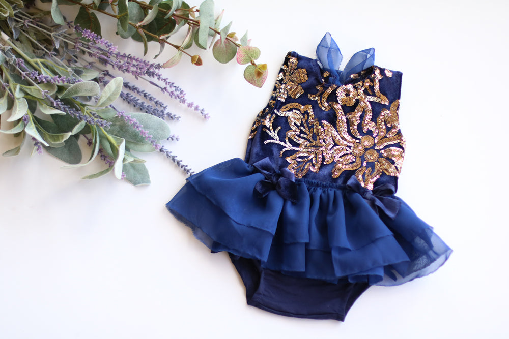Blue and Gold Sequin Set 6-12