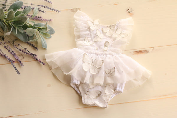 White Butterfly Romper 6-12m