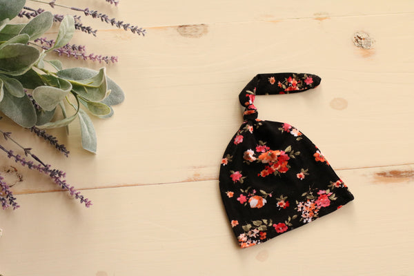 Newborn Floral Hospital Hat Black