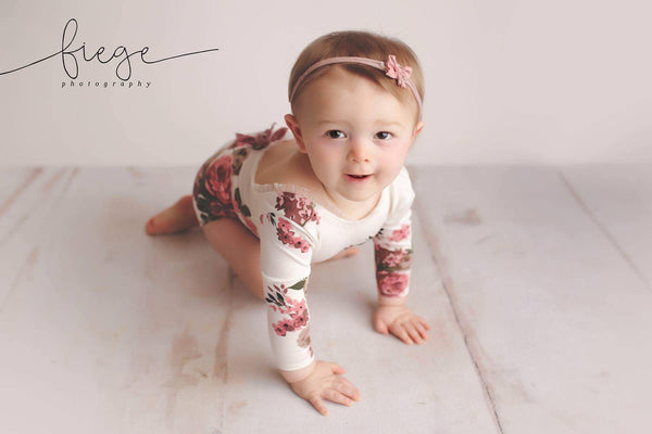 Long Sleeve Floral Romper / Scoop Back Onesie with Trim Accents - Willow Mint Props