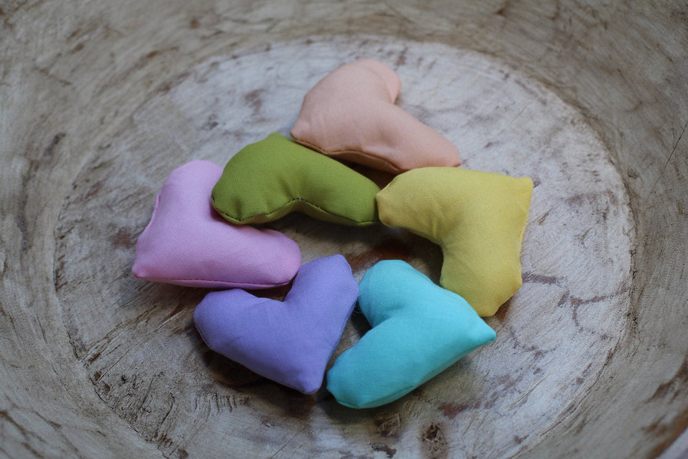 Pastel Rainbow Pillow Heart Set / Rainbow Hearts /  Heart Props