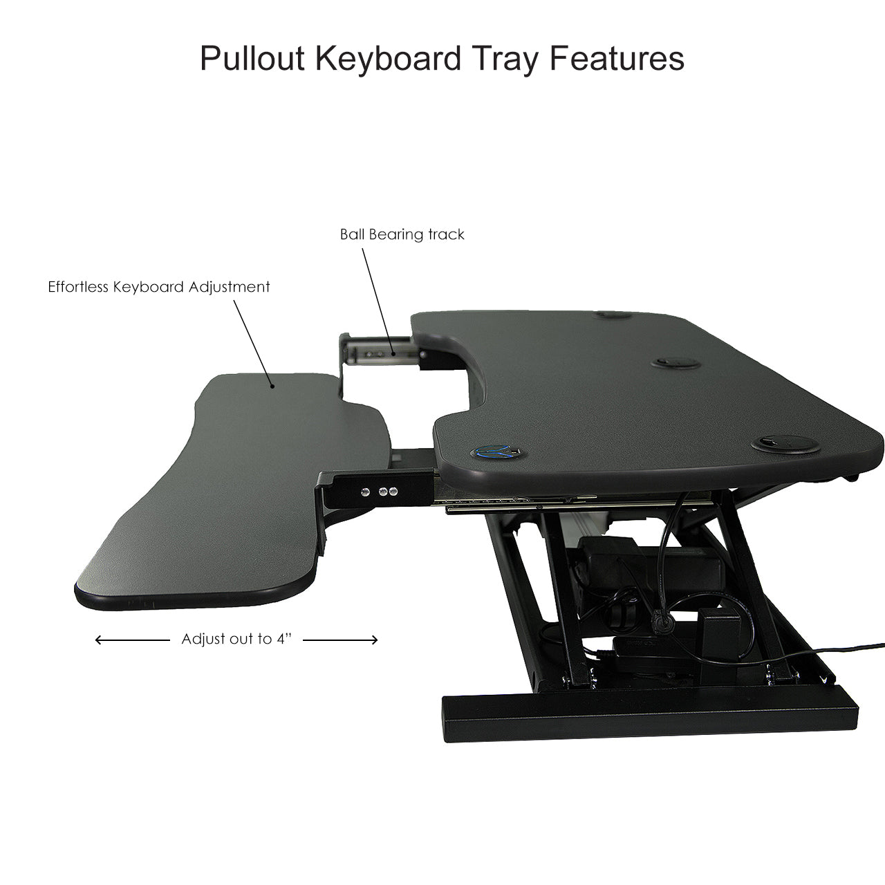 features of the pullout tray on the Power Pro Deluxe sit stand desk converter