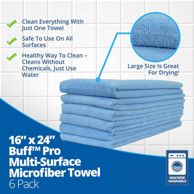 "16""x24"" Buff™ Pro Multi-Surface Microfiber Towel - 6 Pack - Everything But The Plant"