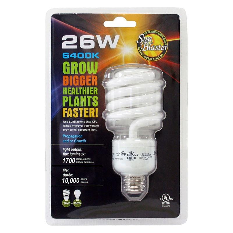 SunBlaster SL0900156 CFL 6400K Grow Light Bulbs, 26W - Everything But The Plant