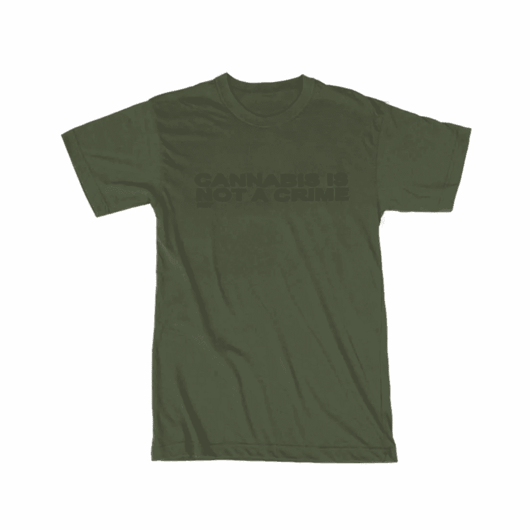 """Not a Crime"" T-Shirt in Military Green"