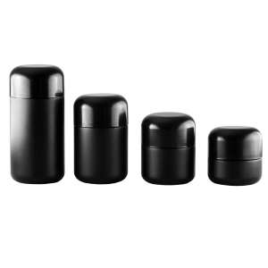6oz Dome Child Resistant Black Glass Jars – Black Cap – (75 qty.) - Everything But The Plant