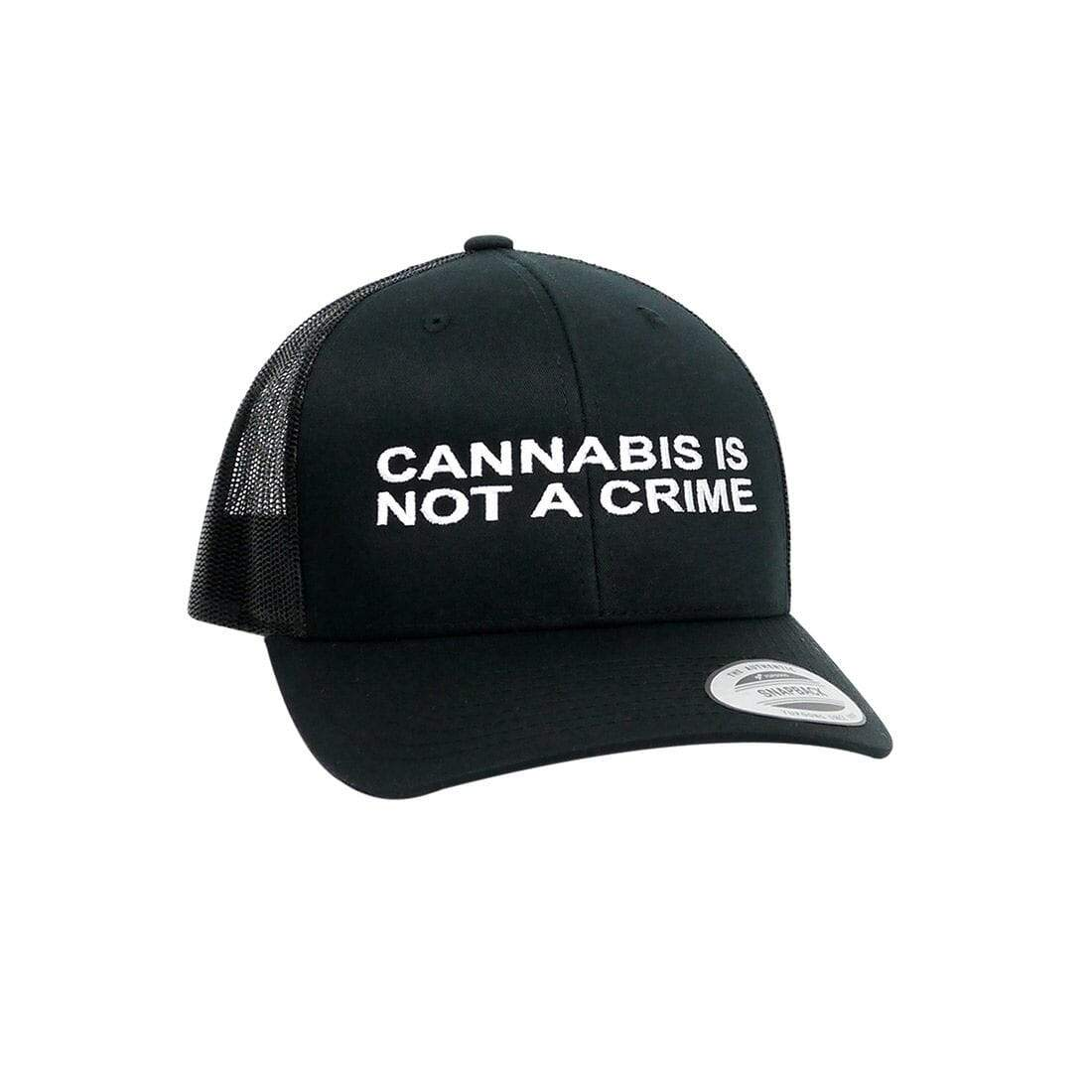 """Not a Crime"" Retro Trucker Hat in Black"
