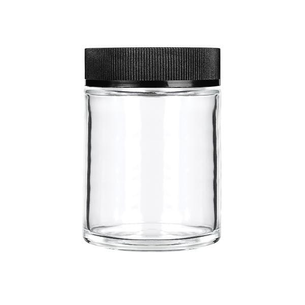 4oz Child Resistant Glass Jars With Black Caps - 7 Grams - 100 Count - Everything But The Plant