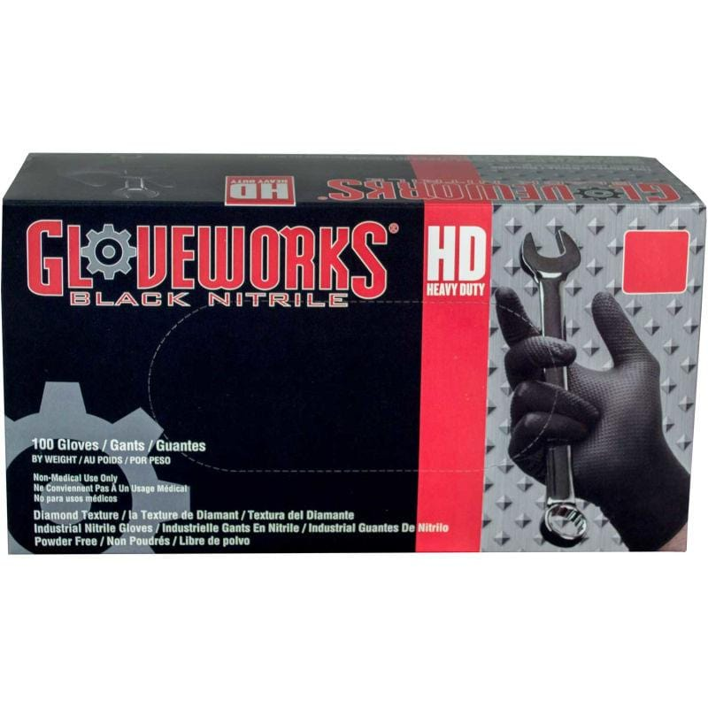 Ammex® GWBN Gloveworks Industrial Grade Textured Nitrile Gloves, Powder-Free, L, Blk, 100/Box - Everything But The Plant