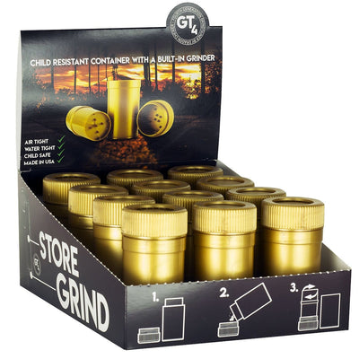 GT4 - Metallic Gold Grinder w/Storage Container Display Box - Everything But The Plant