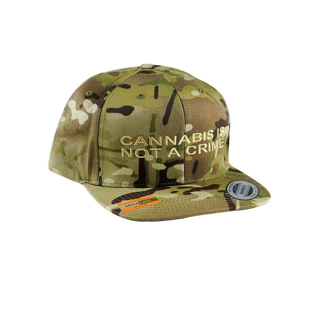 """Not a Crime"" Snapback Hat in Brown Camo"