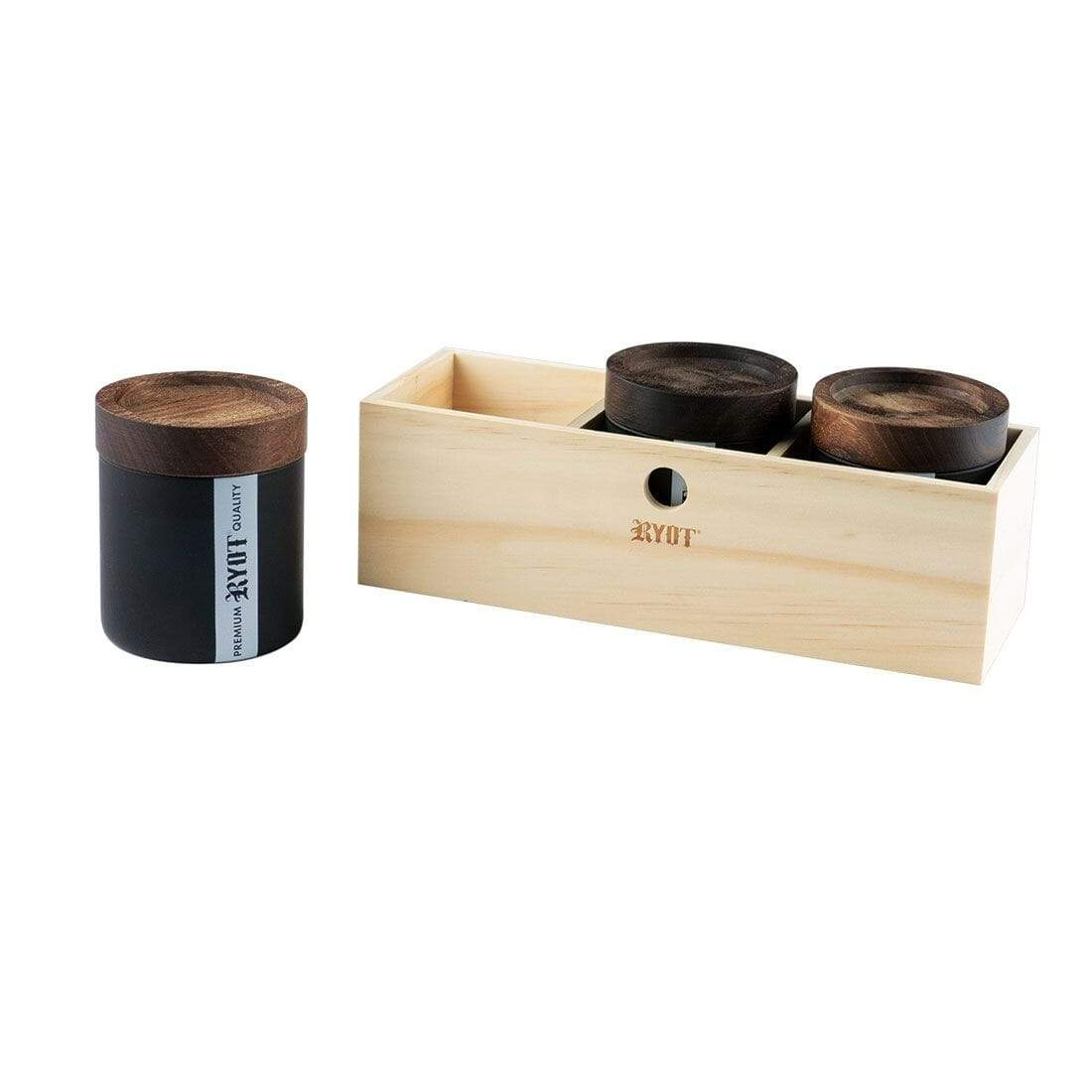 Jar Box with 3 Black Jars with Walnut Lid - Everything But The Plant