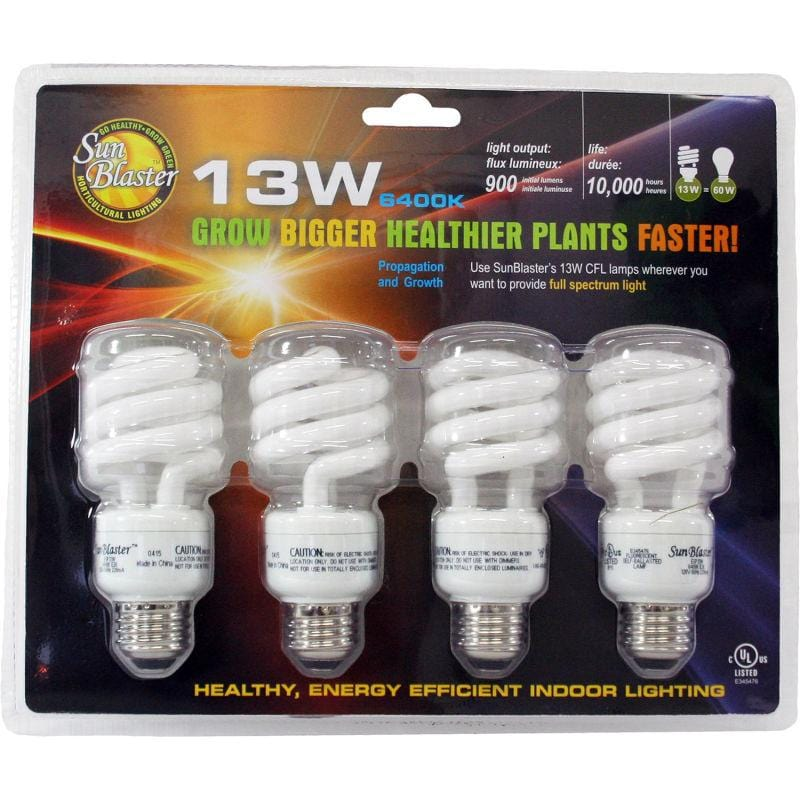 SunBlaster SL0900151 CFL 6400K Grow Light Bulbs 4/pk, 13W - Everything But The Plant